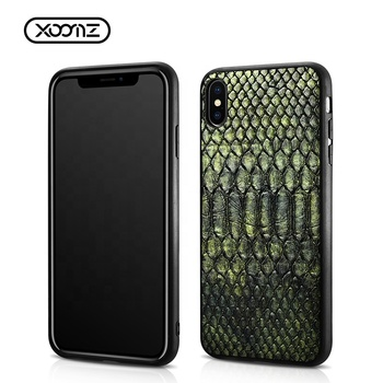 OEM Support Luxury Shockproof Pythons Grain PU Leather Mobile Phone Back Case Cover For iPhone X XS Max XR For Apple