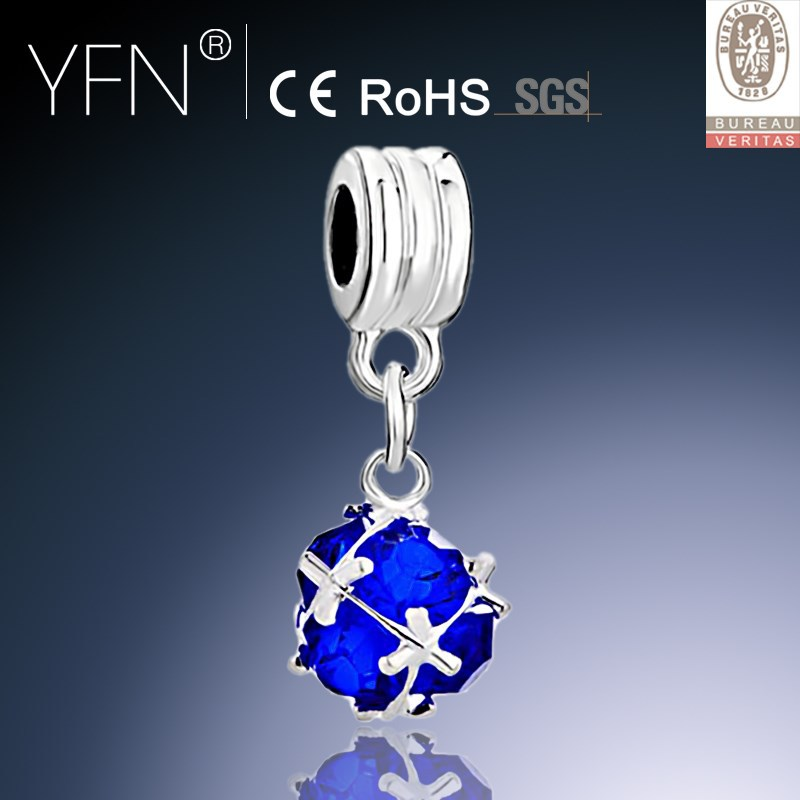 Sapphire Blue CZ Pendent Charm, Art Ball Fancy Silver Dangle Beads Charm