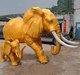 Gold fiberglass mother elephant and baby staute for garden decoration