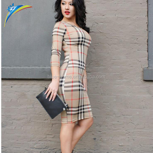Autumn winter fashion women tight one-piece dress long sleeve tartan bodycon dress