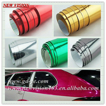 Mirror Chrome Metallic Vinyl Car Chrome Wrap,Chrome Foils Covering Rolls,Reflective Car Wrap Vinyl Sticker 1.52*30m