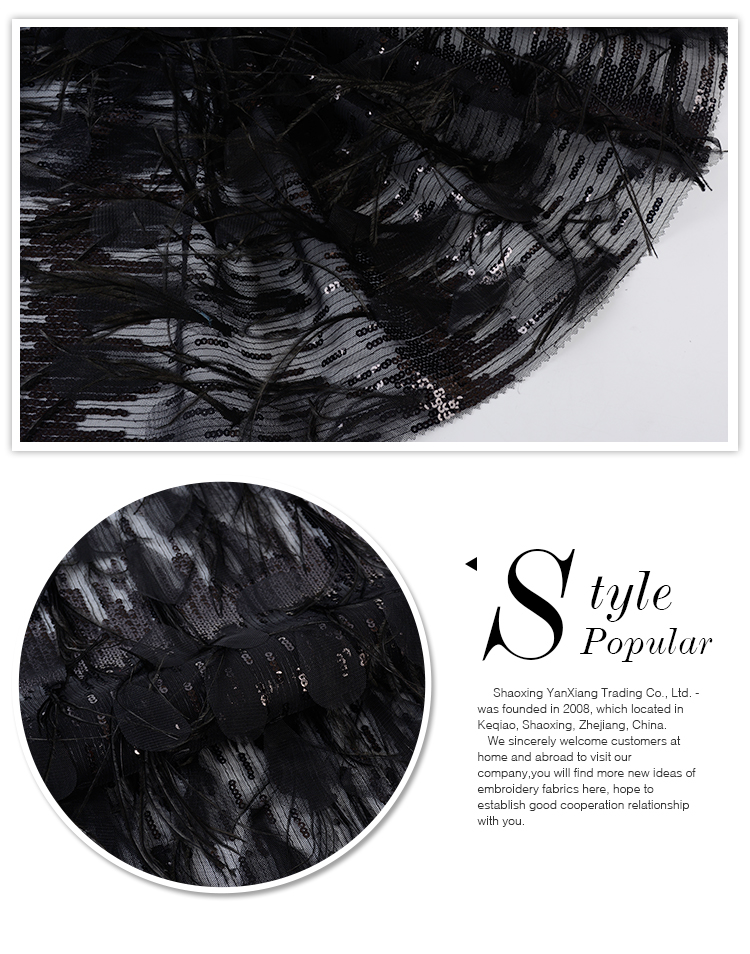 Oem accept soft 100 polyester black feather sequined embroidered fabrics lace
