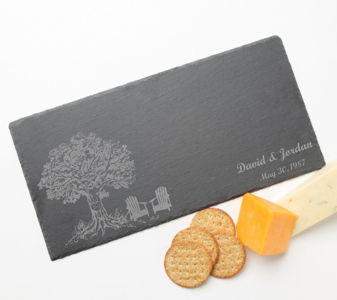 Personalized Slate Cheese Boards, Custom Engraved Slate Cheese Board Tree Initial Design 31-Personalized Housewarming Gift, Engraved Birthday Gift, Host/Hostess, Realtor Gift