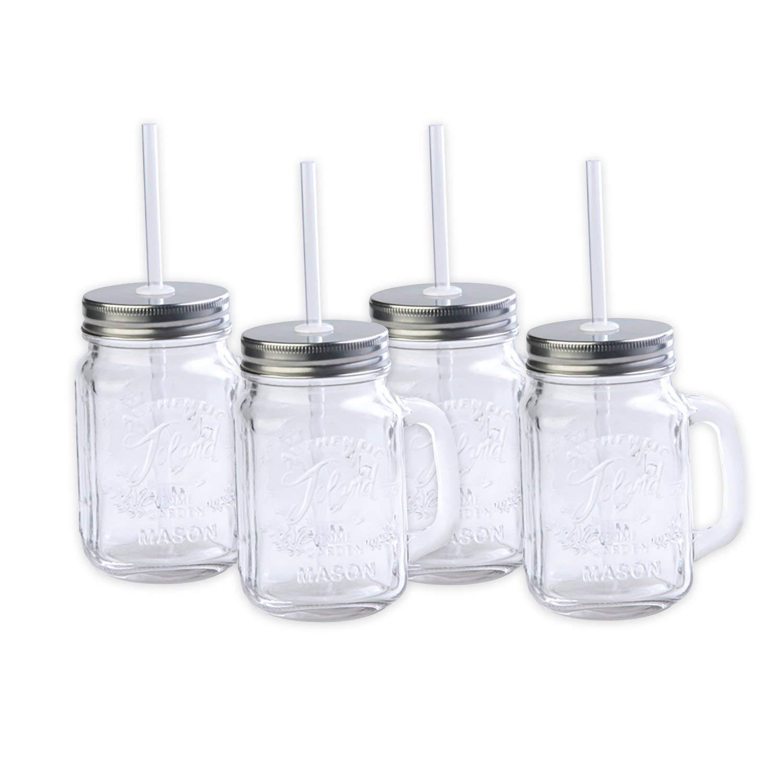 Toland Home Garden Mason Jar 16 oz Mug (Set of 4), Clear, 1 pint