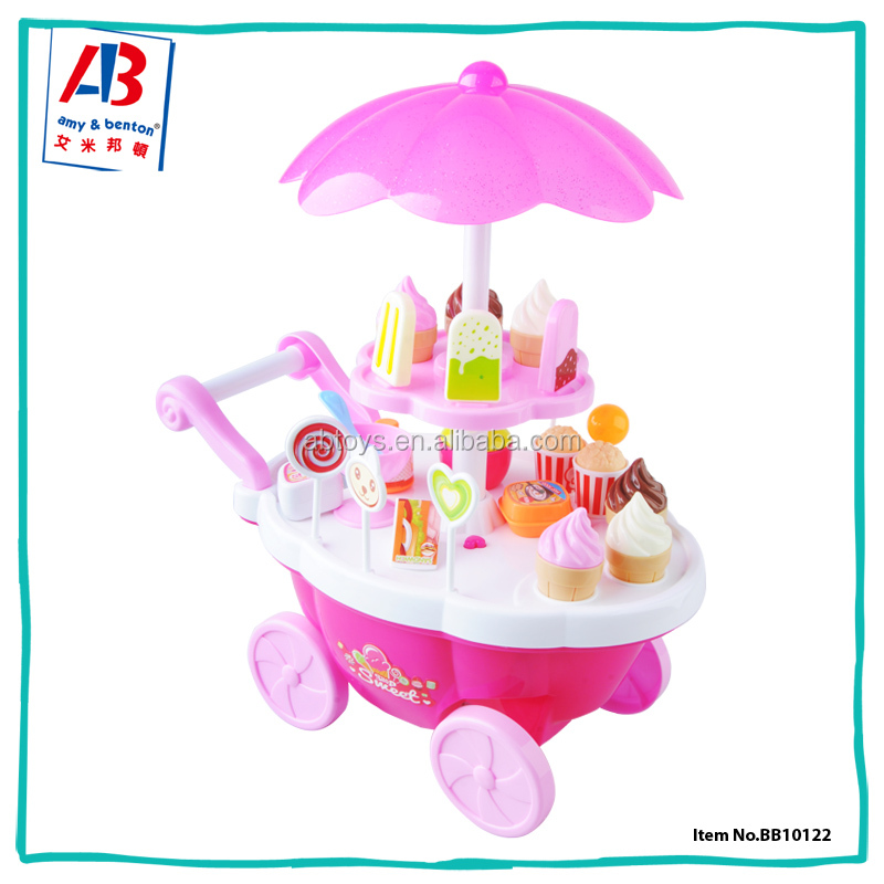 High quality cheap educational toy kids grocery carts play ice cream set