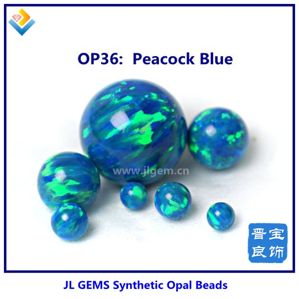 OP36 Peacock Blue Hot Sale Undrilled Synthetic Round Opal loose Beads