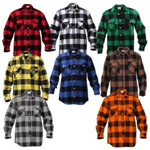 Men's Classic Check Shirts Long Sleeve Plaid Shirt Brushed Cotton Flannel Shirts