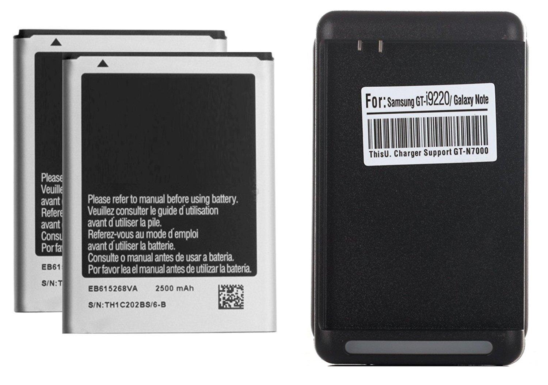 2 x 2500mAh i9220 Baterias de repuesto + Cargador de pared USB para Samsung Galaxy Note 1 i9220, N7000, I717 (AT&T), T879 (T-Mobile)