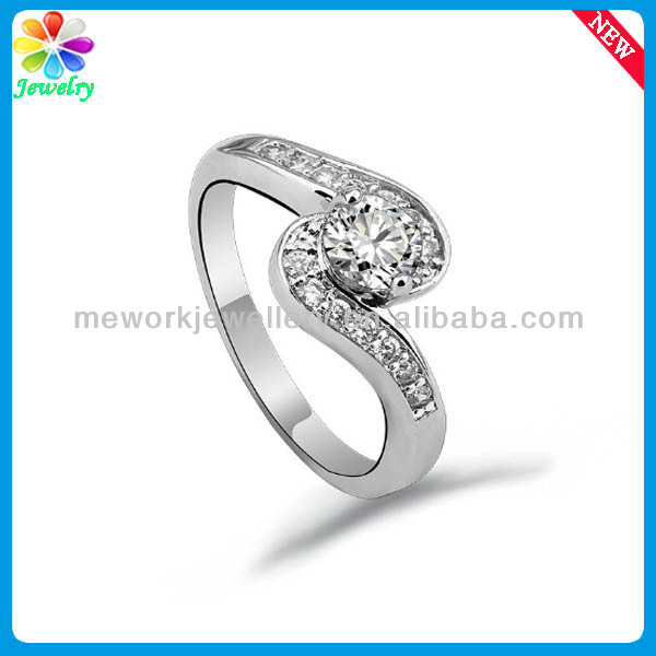 Latest Design S Shaped Girls Stone Finger Ring Stainless Steel