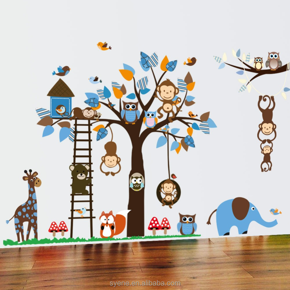 Xl grandes ni os de dibujos animados mono jirafa b ho for Pegatinas pared arbol infantil
