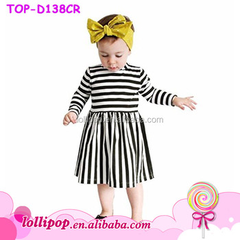 Black And White Stripe Dress Cotton Unique Baby Girl Names Images Frock  Design Pictures Simple Dress For Kids - Buy Simple Dress For Kids,Black And