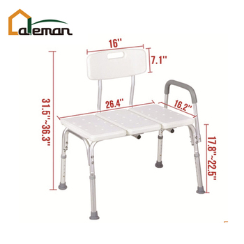 White Medical Shower Chair Height Adjustable Bath Tub Transfer Seat Benches with Back and Armrest