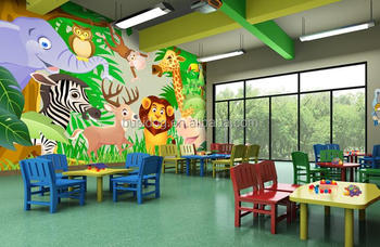 Populer 3d Hewan Kartun Karakter Mural Wallpaper Untuk Kamar Anak