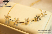 2016 Jewelry opal five flower short necklace pendant necklace jewelry wholesale