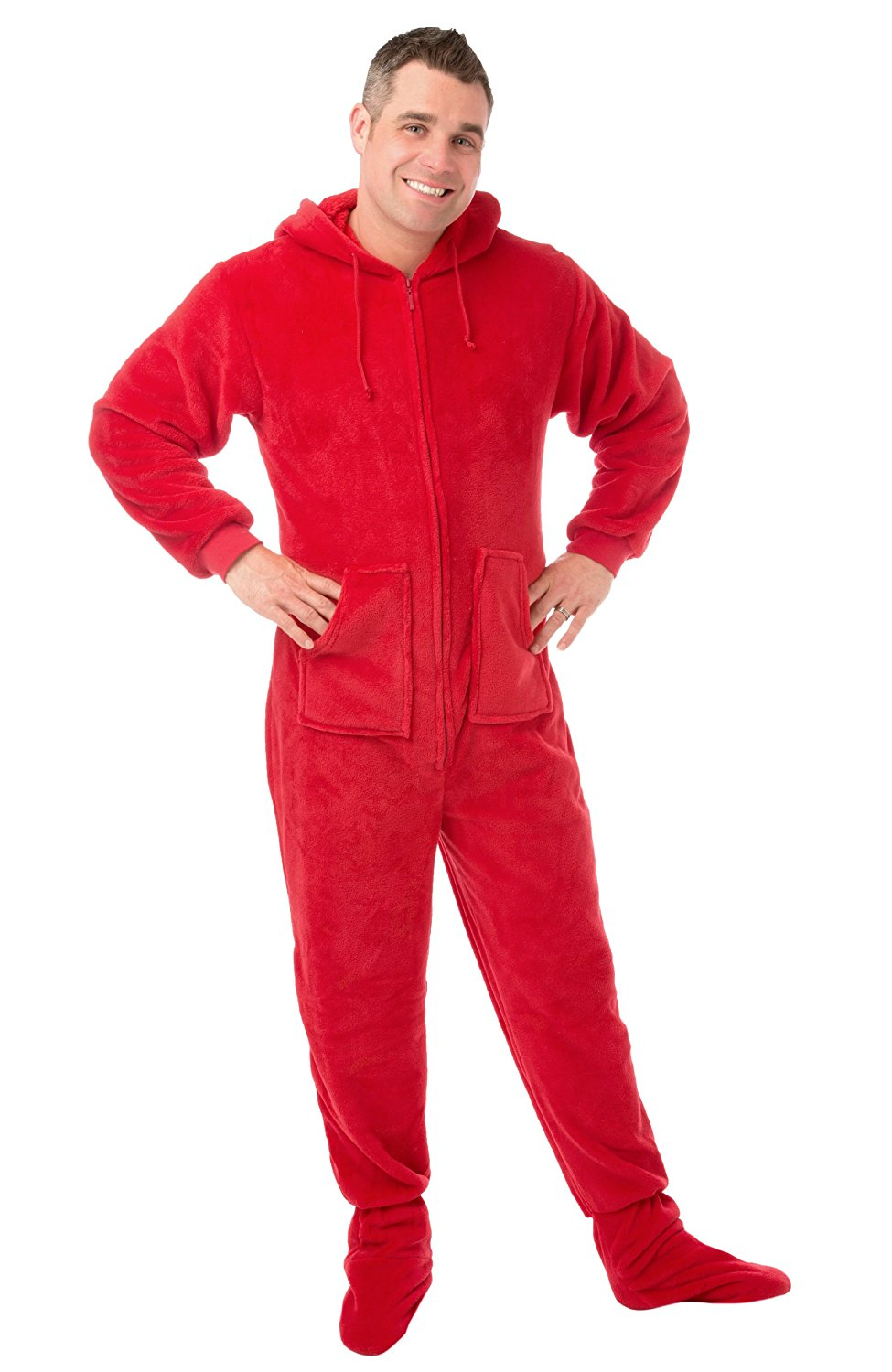 Get Quotations · Hoodie Footed Onesie Red Plush DropSeat Footed Pajamas  with Butt Flap 3c2ad0aa8