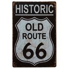 HISTORIC OLD Route 66 Retro Vintage Decorative Tin Metal Poster Cafe Bar Pub home office Denim Artside Painting