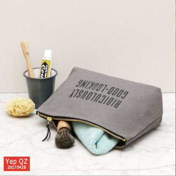Whole Eco Friendly Large Size Reusable Grey Color Canvas Wash Bag With Black Silk Screen