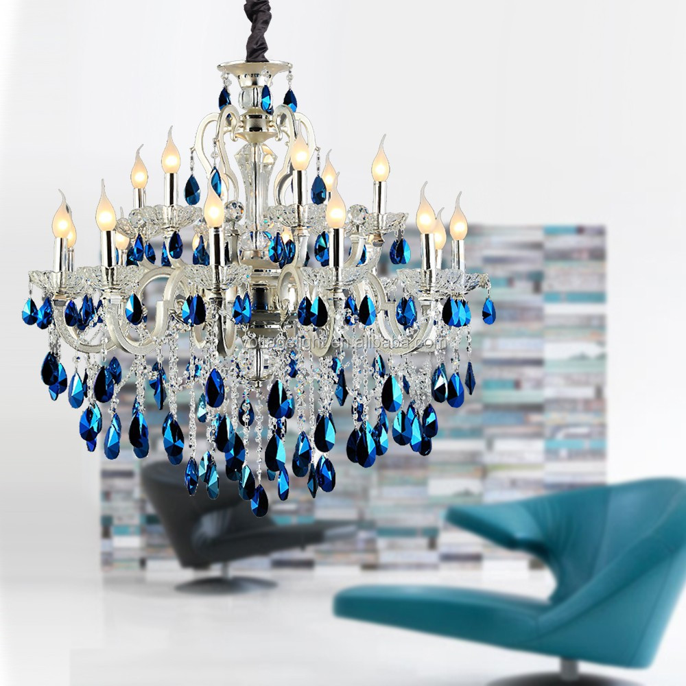 Factory-outlet Luxury Big Modern Crystal Chandeliers Exquisite Italian Blue And Clear K9 Oval Pendant Hanging Light