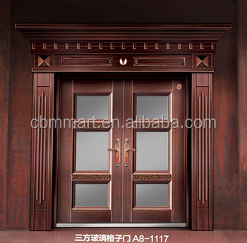 Modern House Exterior Door Double Tempered Glass Pure