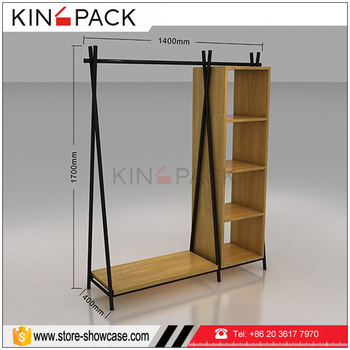 MDF Wood With Mental Custom Made Mental Hanging Clothes Display Rack  Furniture For Retail Clothing Display