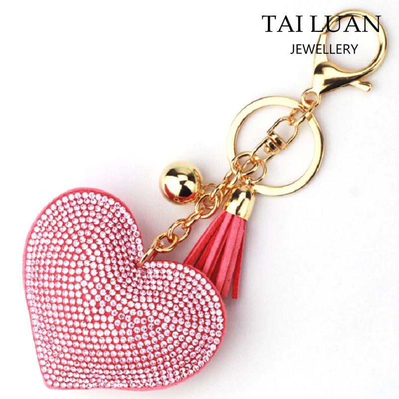 Custom Tassel Keychain Leather Rhinestone Initial Keychains Heart Shape  Rhinestone Keychain - Buy Rhinestone Keychain,Rhinestone Heart