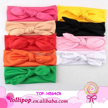 Fancy plain solid color jersey knit headband cotton elastic fabric baby  headbands 3c8b9819986