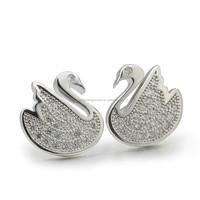 The newest fashion 925 sterling silver earrings swan shape stud earrings