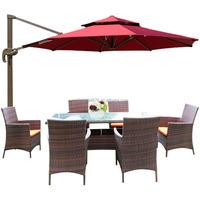 Rust Proof Outdoor Dinning Table & 6 Chairs Garden General Use Rattan/Wick Handiwork Patio Furniture