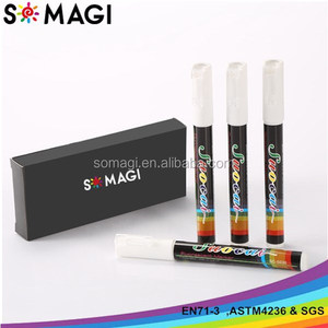 White Liquid Chalk Marker Pens 4-Pack - 3mm Reversible Tip - ONLY SUITABLE FOR NON POROUS SURFACES