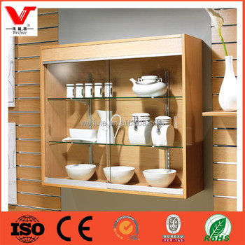 High End Wall Mounted Wood Furniture Showcase Designs, Glass Display Wall  Cabinets