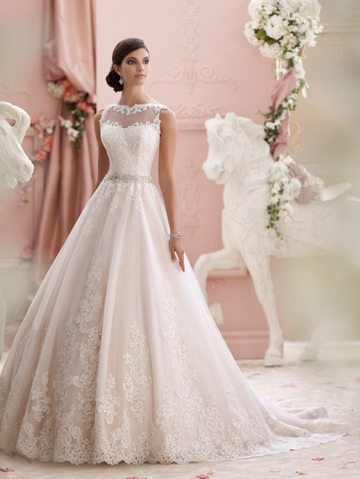 High Quality Elegant See Through Back Vintage Wedding Dress Lace Gowns