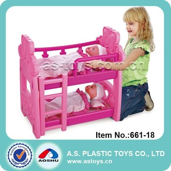 Play At Home Lovely Pink Plastic Pretend Bunk Bed Play Set For Kids