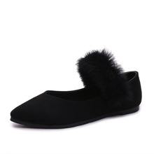 trendy attractive design inexpensive flat single shoes faux fur factory price ladies fancy casual shoes