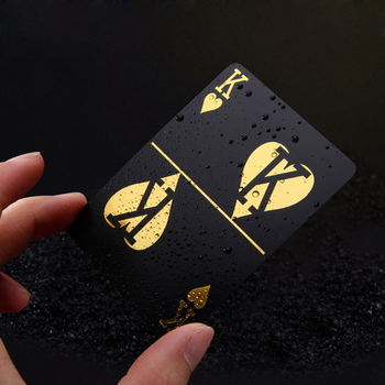 Plastic waterproof Poker PVC black playing cards gold foil silver deck card game classic party magic tricks joker tool