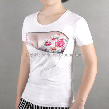 Custom girls printed t shirts funny design cotton bra for 100 cotton t shirts shrink
