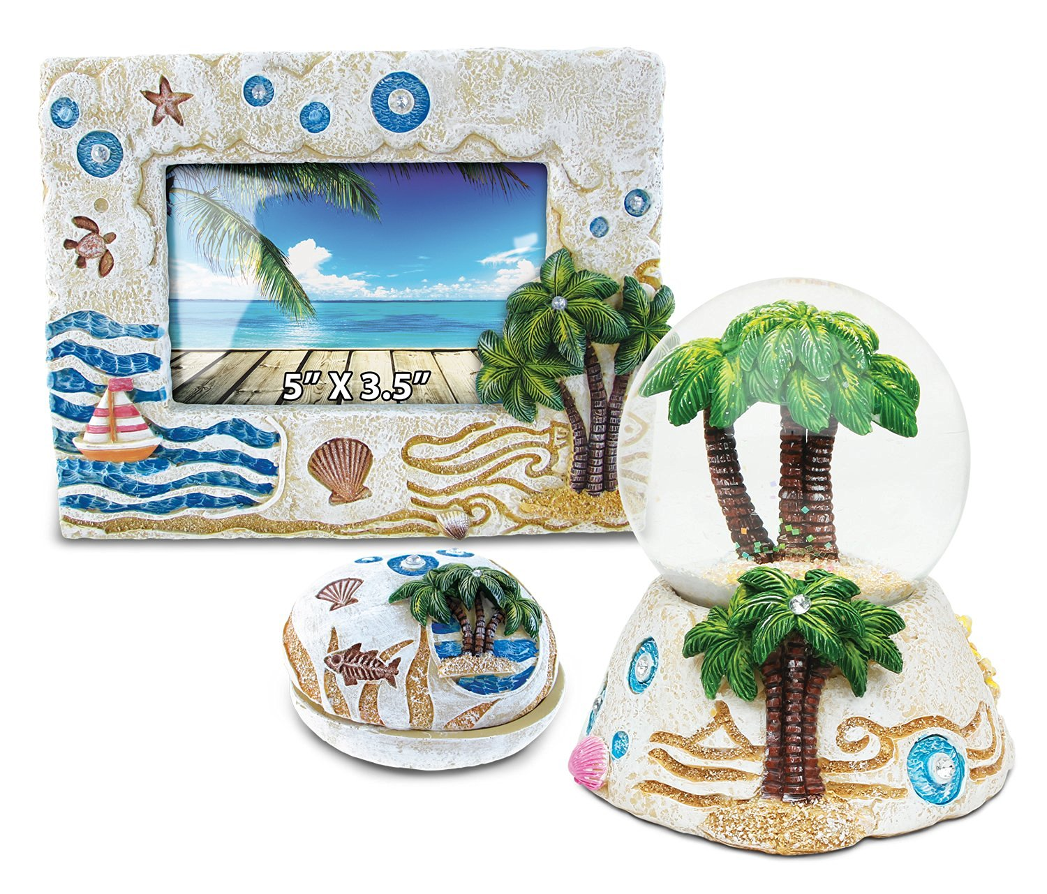 Puzzled Palm Tree Resin Stone Finish Collection including Picture/Photo Frame, Jewelry Box , and Snow Globe - Picture Size 5 by 3 - Unique Elegant Gift and Souvenir