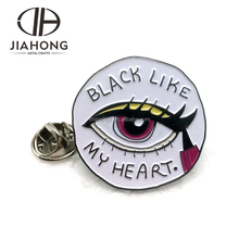 Custom Cricliar shaped big eye design soft enamel lapel pin with logo