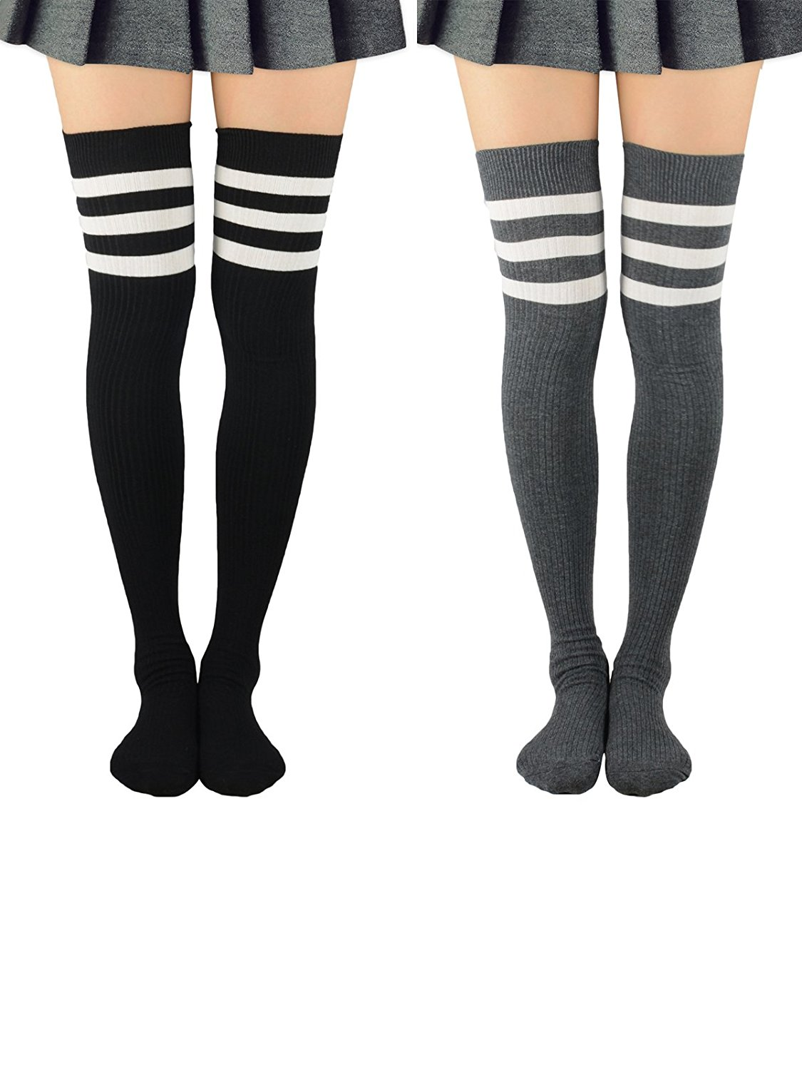5d0fc79a0 Get Quotations · Zando Women Extro Long Thigh High Socks Fashion Stripe  Tube Stockings Casual Over The Knee Socks