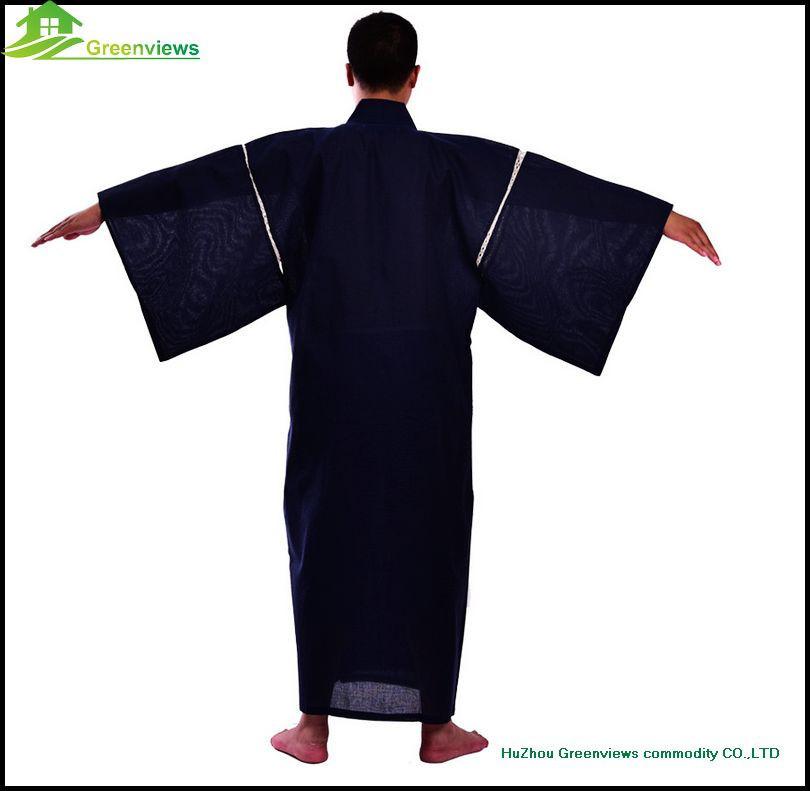Cotton Japanese Kimono Men Robe Gown Bathrobe Sleepwear Men Bathrobe ...