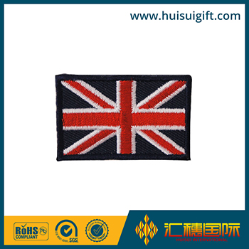 high quality wholesale custom UK flag woven badge embroidery