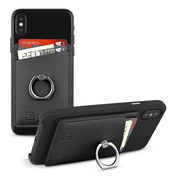 Leather Wholesale Cell Phone Wallet with Ring Holder