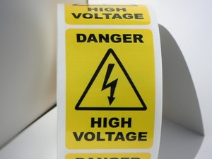 Details about Lot of 12 DANGER HIGH VOLTAGE 2x3 Warning Stickers Labels