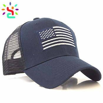 Navy blue trucker hat custom logo hats national flag trucker cap 6 panel  mesh baseball cap 053fd60facb