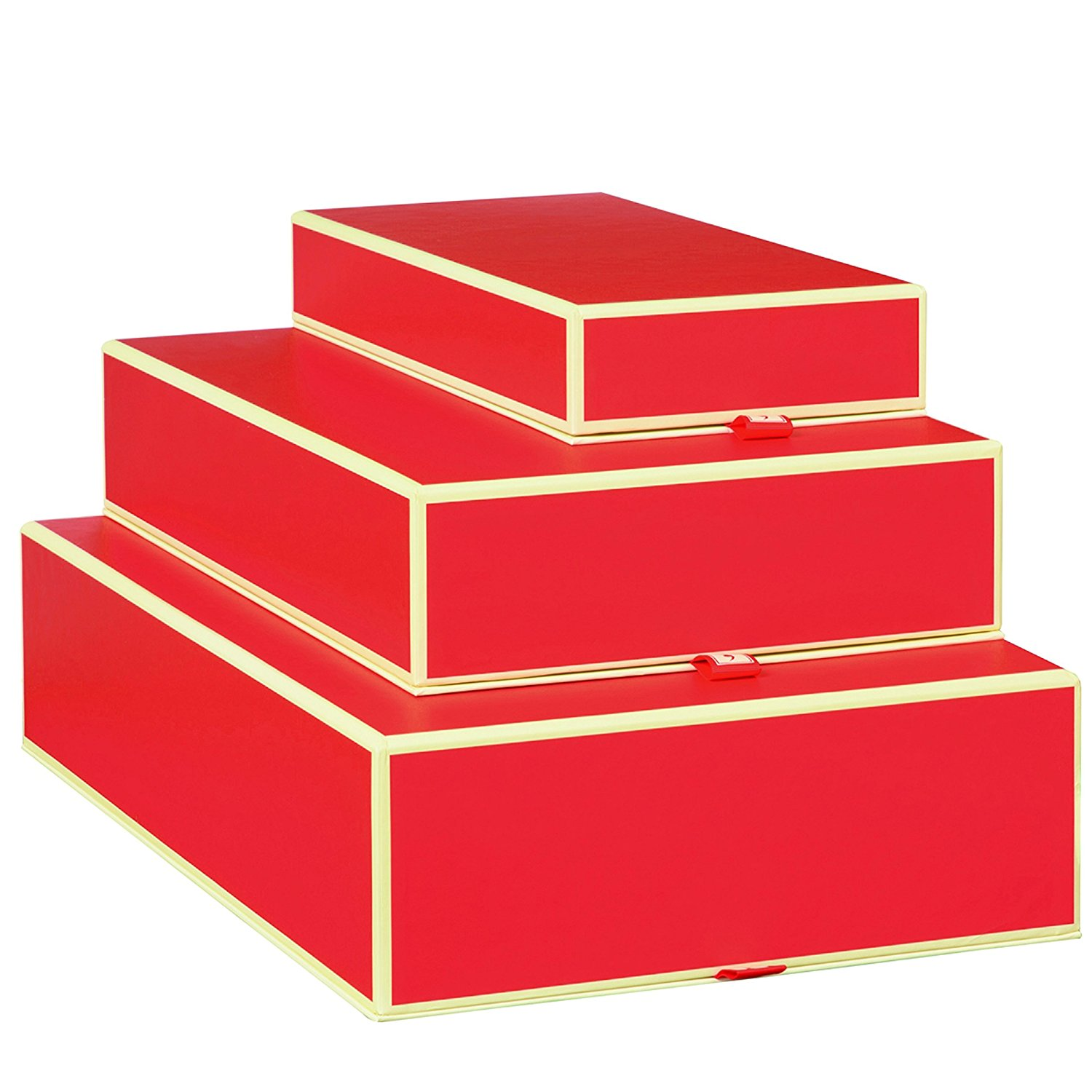 Set of 3 rectangular boxes red +++ STORAGE- or GIFT BOXES +++ Quality made by Semikolon