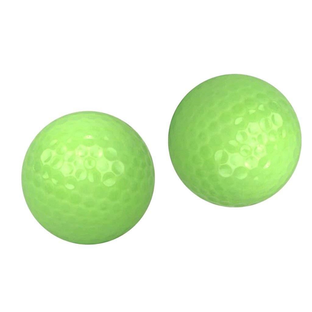 Baosity 2Pcs Glow Golf Balls Luminous Night Golf Training Ball Golf Gift Accessories
