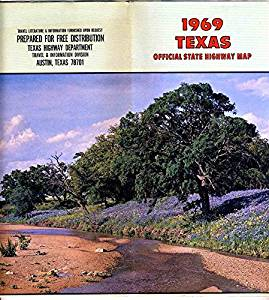1969 TEXAS Official State Highway Map Texas Highway Department