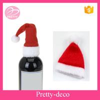OEM design red Christmas mini hat wine bottle decoration