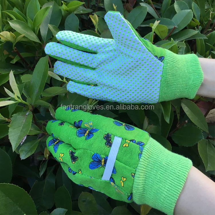 Kids gardening gloves with pvc dots palm, drill canvas back , knit wrist