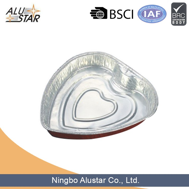 heart shape bakery aluminium foil disposable container
