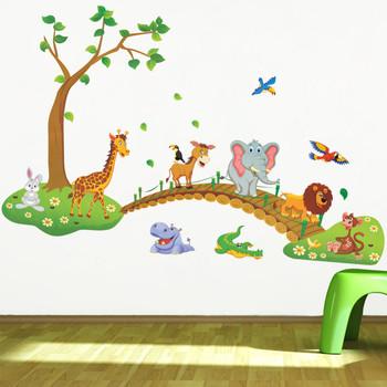 Waar Koop Ik Muurstickers.3d Cartoon Jungle Wilde Dier Boom Brug Leeuw Giraffe Olifant Vogels Bloemen Muurstickers Voor Kinderkamer Buy Bloem Auto Sticker Sticker